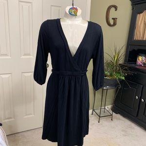 Old Navy Black Knit Mock Wrap Dress Size L